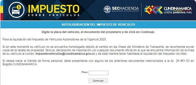 impuesto vehiculos cundinamarca