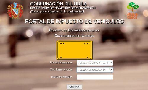 consulta impuestos vehiculos huila por placa